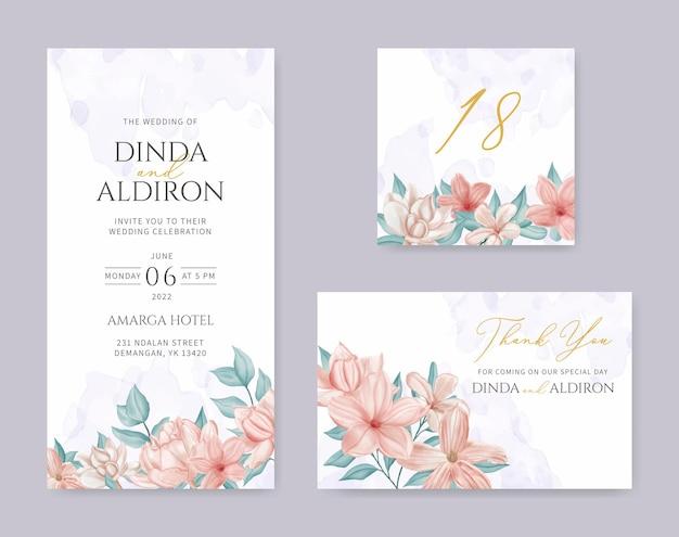 Ensemble de cartes d'invitation de mariage floral coloré élégant