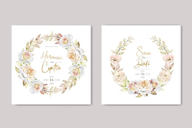 Ensemble de cartes d'invitation de mariage floral dessiné main romantique