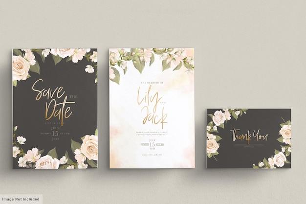 Ensemble de cartes d'invitation de mariage floral dessiné à la main