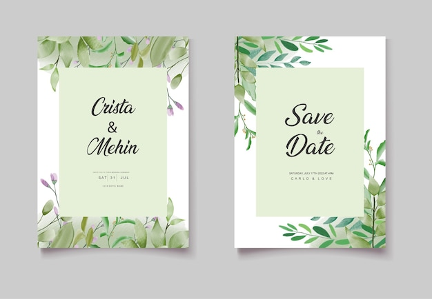 Ensemble de cartes d'invitation de mariage floral fleur aquarelle verte