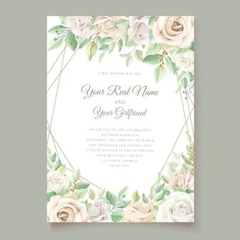 Ensemble de cartes d'invitation de mariage floral vert tendre