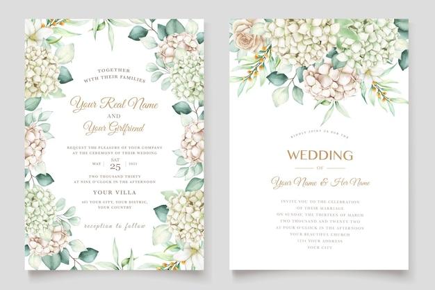 Ensemble de cartes d'invitation de mariage hortensia aquarelle