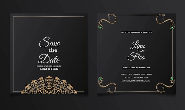 Ensemble de cartes d'invitation de mariage de luxe save the date