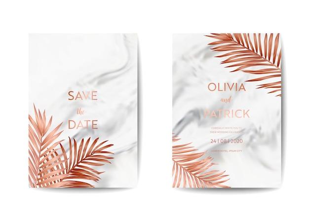 Ensemble de cartes d'invitation de mariage, réservez la date avec un fond de texture de marbre à la mode et un design de feuilles de palmier tropicales dorées. illustration du modèle rsvp dans le vecteur