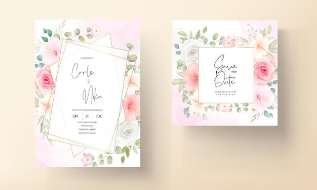 Ensemble de cartes d'invitation de mariage romantique fleur et feuilles