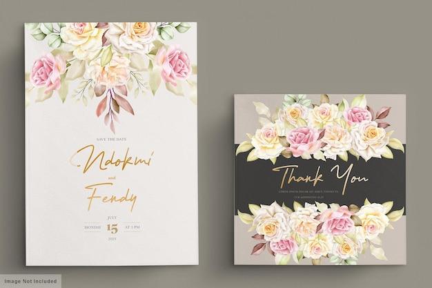 Ensemble de cartes d'invitation de mariage roses blanches aquarelle romantique