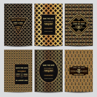 Ensemble de cartes d'invitation de mariage - save the date - style art déco vintage