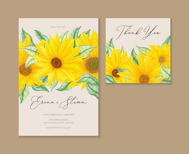 Ensemble de cartes d'invitation de mariage tournesol aquarelle vintage