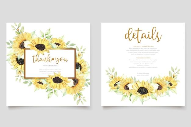 Ensemble de cartes d'invitation de mariage tournesol aquarelle