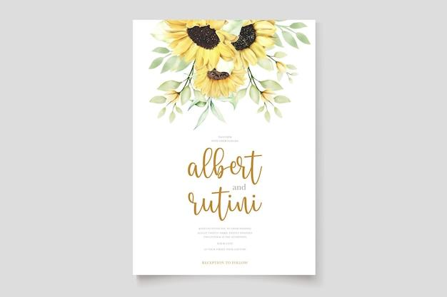 Ensemble de cartes d'invitation de mariage tournesols aquarelles