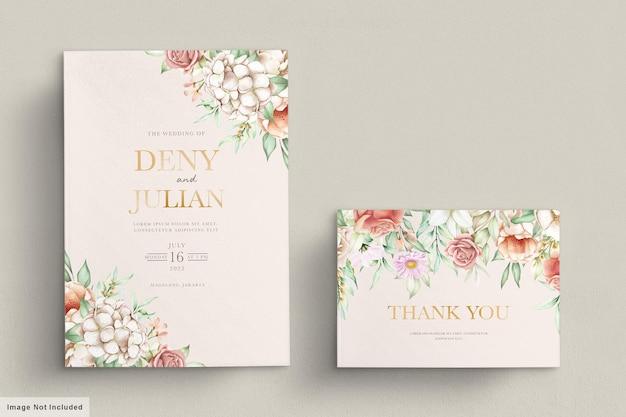 Ensemble de cartes d & # 39; invitation de printemps floral en fleurs