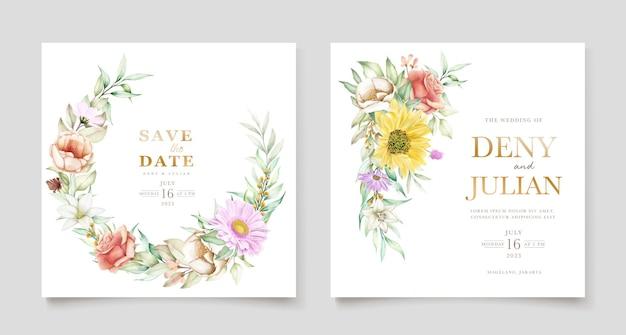 Ensemble de cartes d'invitation printemps floral en fleurs