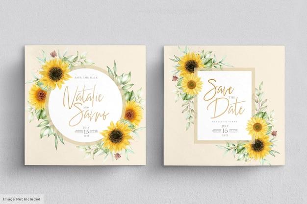 Ensemble de cartes d'invitation de tournesol aquarelle