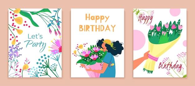 Ensemble de cartes de joyeux anniversaire let party bouquet de fleurs