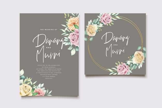 Ensemble de cartes de mariage aquarelle élément floral
