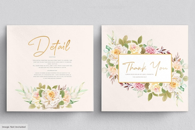 Ensemble de cartes de mariage aquarelle roses blanches romantiques