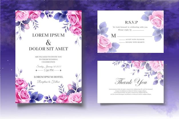 Ensemble de cartes de mariage botanique de dessin à la main