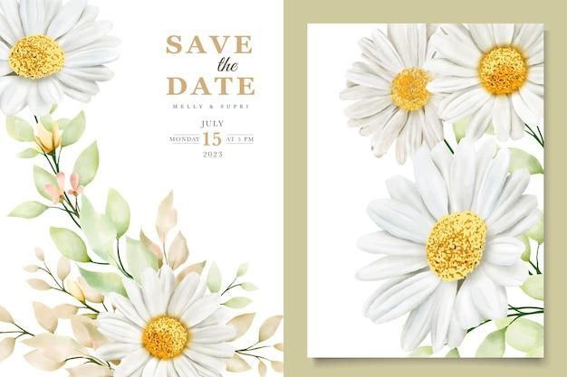 Ensemble de cartes de mariage chrysanthème aquarelle