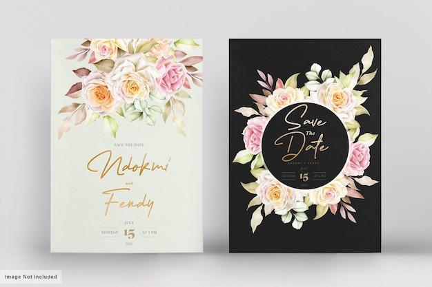 Ensemble de cartes de mariage floral aquarelle romantique