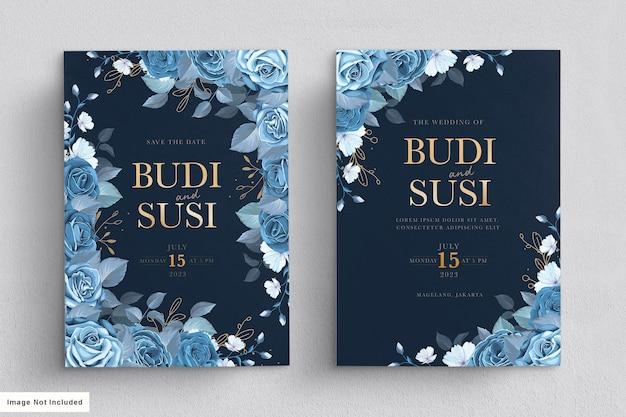 Ensemble de cartes de mariage floral bleu