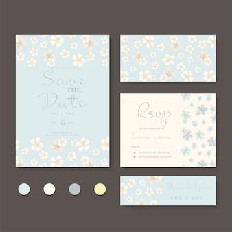 Ensemble de cartes de mariage floral