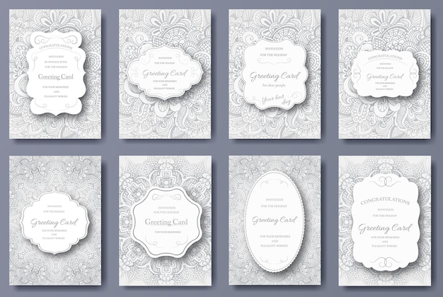 Ensemble de cartes de mariage flyer pages ornement illustration concept