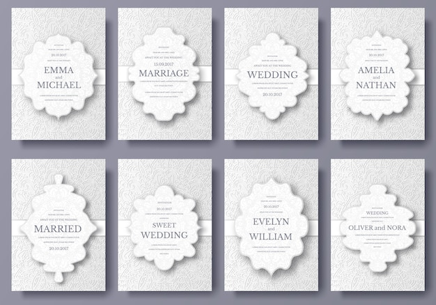 Ensemble de cartes de mariage flyer pages ornement illustration concept.