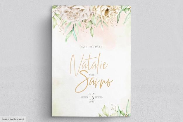 Ensemble de cartes de mariage minimalistes roses blanches
