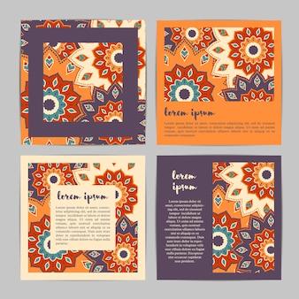 Ensemble de cartes de modèle carré avec mandala fleur dessiné à la main.