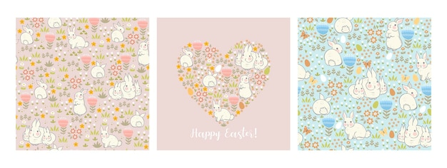 Ensemble de cartes et de motifs de pâques avec des lapins et une flore printanière.