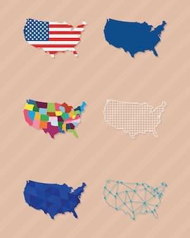 Ensemble de cartes de pays des états-unis
