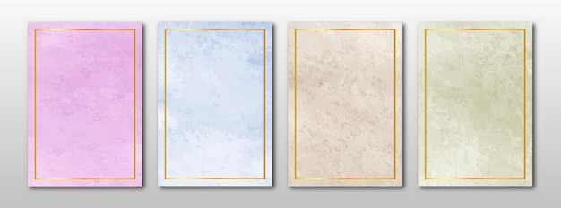 Ensemble de cartes peintes à la main minimalistes. fond de texture aquarelle.