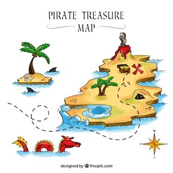 Ensemble de cartes pirates trés dessinées à la main