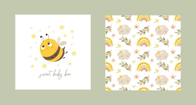 Ensemble de cartes postales avec une abeille mignonne