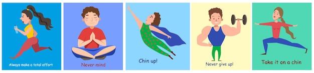 Un ensemble de cartes postales amusantes avec des personnages sportifs. signe encourageant. image vectorielle sur un fond isolé.