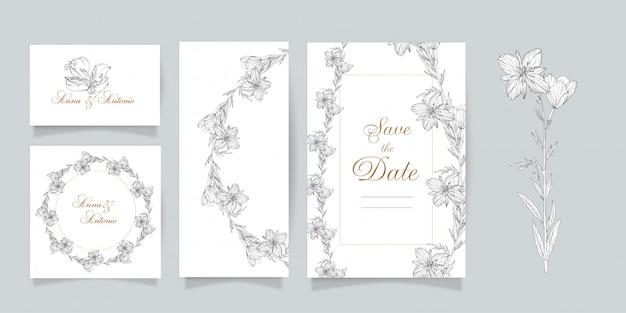 Ensemble de cartes postales. ensemble graphique vectoriel d'éléments floraux. epilobium