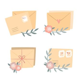 Ensemble de cartes postales romantiques