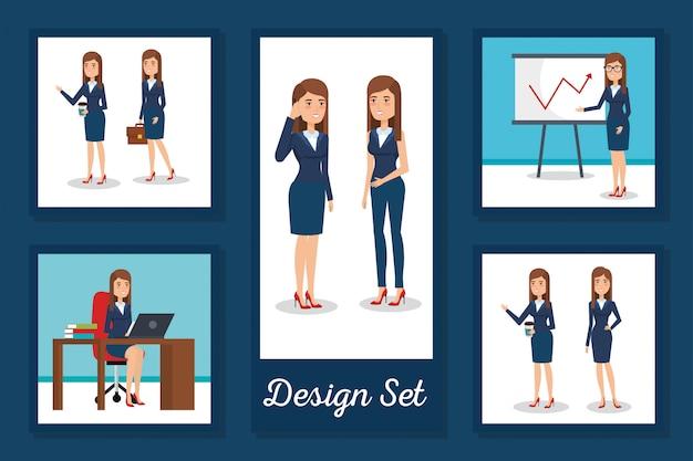 Ensemble de cartes pour femmes d'affaires