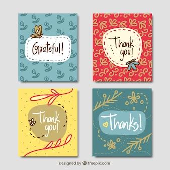 Ensemble de cartes de remerciement vintage dessinées à la main