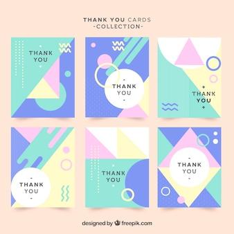 Ensemble de cartes de remerciements modernes en couleurs pastel