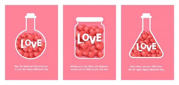 Ensemble de cartes de saint valentin avec amour dans un bocal.