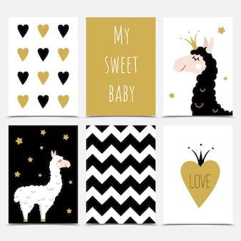 Un ensemble de cartes de souhaits mignons avec des lamas.