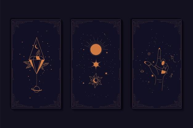 Ensemble de cartes de tarot mystiques éléments de symboles ésotériques occultes alchimiques et sorcières