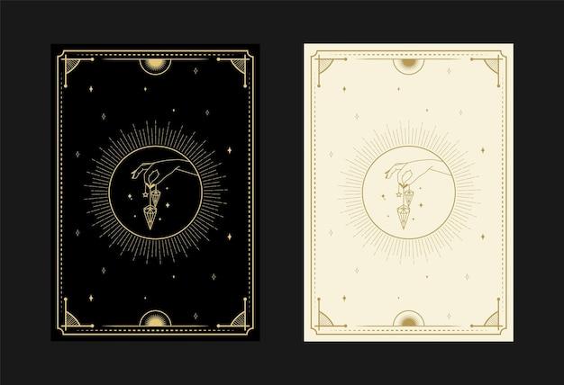 Ensemble de cartes de tarot mystiques symboles alchimiques doodle gravure d'étoiles diamant et cristaux