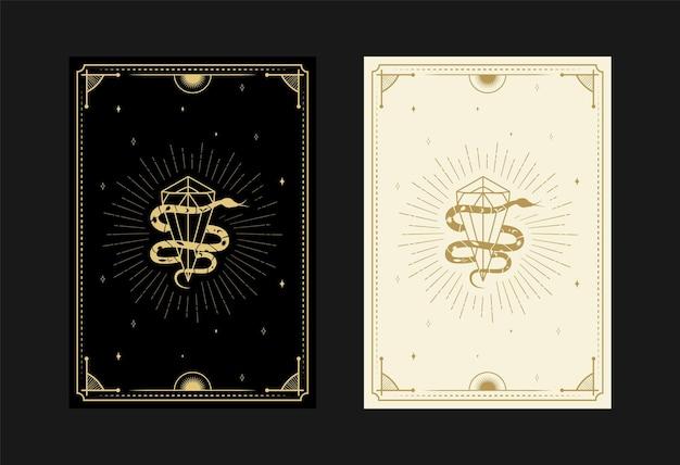 Ensemble de cartes de tarot mystiques symboles alchimiques doodle gravure d'étoiles rayons de diamant et cristaux