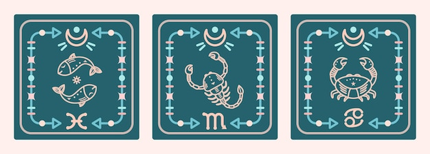 Un ensemble de cartes vectorielles avec des signes d'eau du zodiaque. cartes astrologiques.