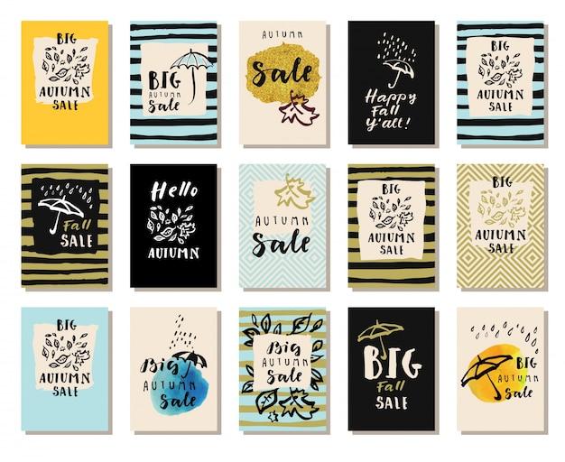 Ensemble de cartes de vente d'automne