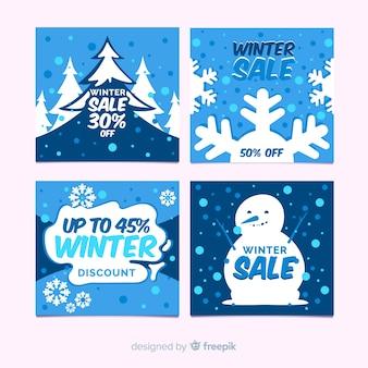 Ensemble de cartes de vente d'hiver plat