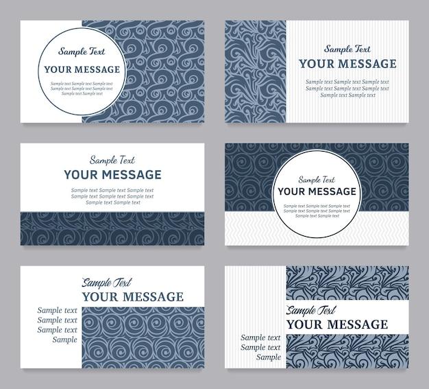 Ensemble de cartes de visite ou d'annonces d'invitations vintage