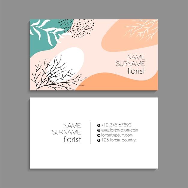 Ensemble de cartes de visite florales.